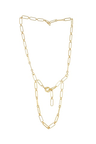 Gold Plated Spectacle Chain Necklace by Zariin