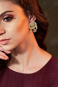 Gold Plated Pearl Oversized Earrings by Zariin