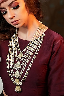 Gold Plated Pearl Necklace by Zariin
