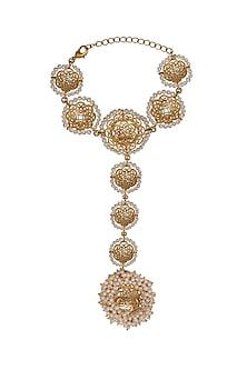 Gold Plated Pearl Hathphool by Zariin