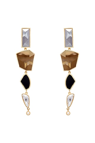 Gold Plated Pearl Earrings by Zariin