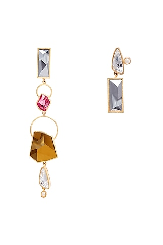 Gold Plated Swarovski Earrings by Zariin