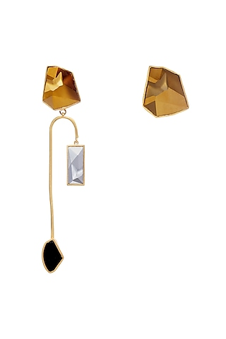 Gold Plated Crystal Earrings by Zariin
