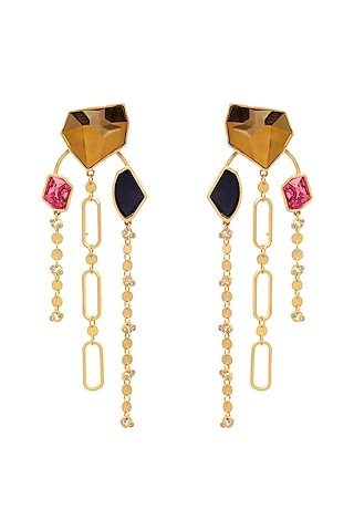 Gold Plated Earrings With Swarovski Crystal by Zariin