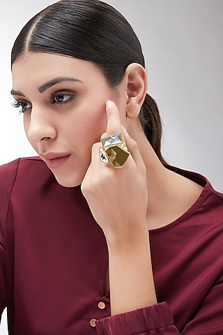 Gold Plated Swarovski Ring by Zariin