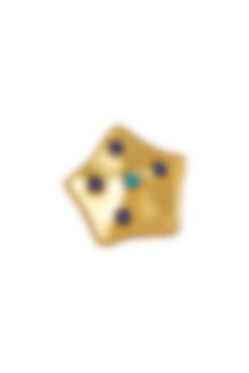 Gold Plated Lapis Lazuli Motifs Ring by Zariin