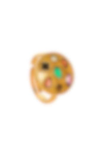 Gold Plated Ring With Grey Sapphire by Zariin
