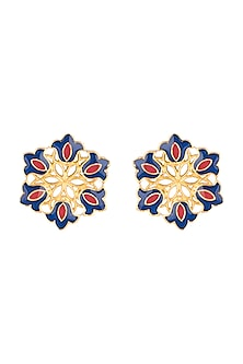 Gold Polish Enameled Floral Stud Earrings by Zariin