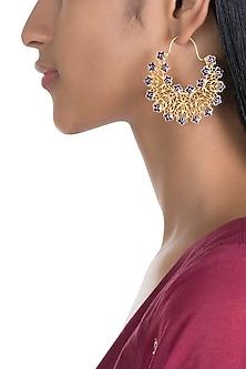 Gold Polish Enameled Floral Hoop Earrings by Zariin