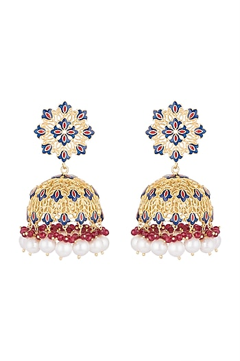 Gold Polish Enameled Pearl Jhumka Earrings by Zariin