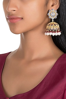 Gold Polish Enameled Pearl Jhumka Earrings by Zariin