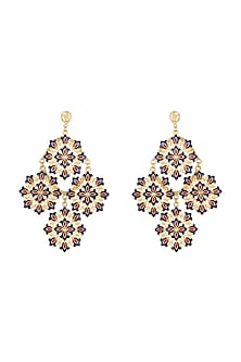 Gold Polish Enameled Floral Earrings by Zariin