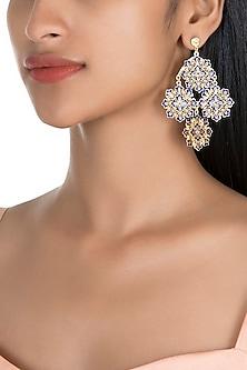 Gold Polish Enameled Floral Earrings by Zariin