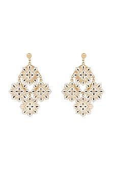 Gold Polish White & Black Enameled Floral Earrings by Zariin