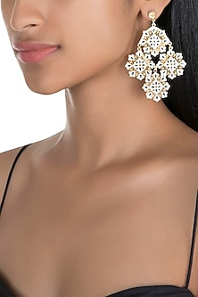 Gold Polish White & Black Enameled Floral Earrings by Zariin