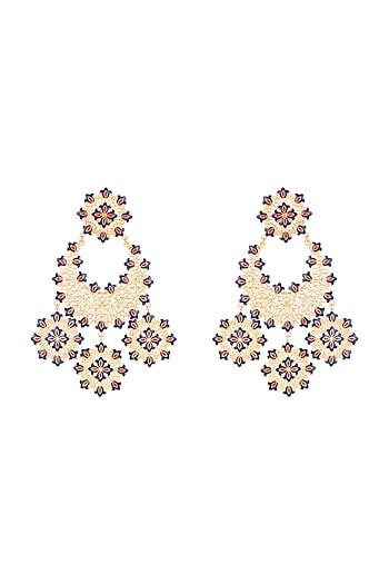 Gold Polish Enameled Floral Long Earrings by Zariin