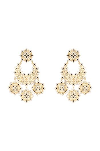 Gold Polish White & Black Enameled Floral Long Earrings by Zariin