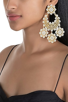 Gold Polish White & Black Enameled Floral Long Earrings by Zariin