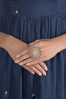 Gold Polish Enameled Floral Statement Ring by Zariin