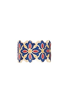 Gold Polish Floral Enameled Ring by Zariin