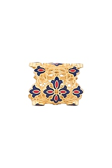 Gold Polish Floral Motif Enameled Ring by Zariin