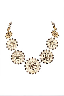 Gold Polish Enameled Floral Necklace by Zariin