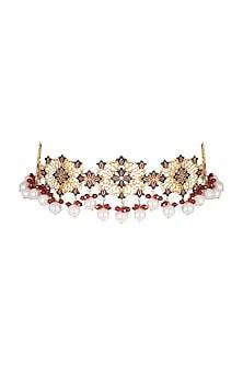Gold Polish Enameled Pearl Choker Necklace by Zariin
