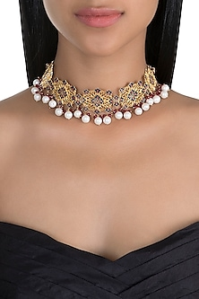 Gold Polish Enameled Pearl Choker Necklace by Zariin