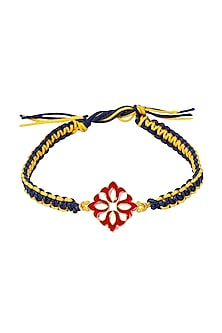 Gold Plated Red Meenakari Rakhi by Zariin