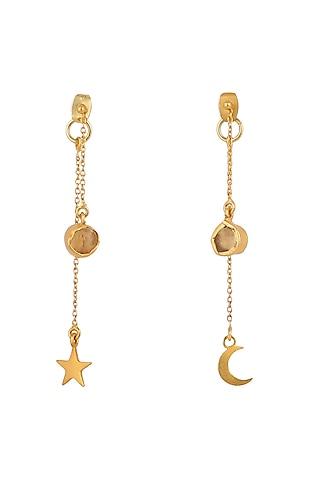 Gold Plated Bracelet With Earrings In Gift Box by Zariin