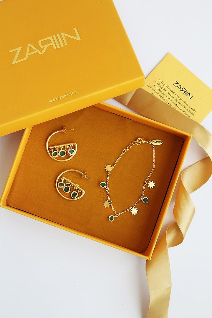 Gold Plated Gemstone Bracelet & Earrings In Gift Box by Zariin