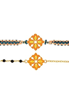 Gold Plated Orange Enameled Rakhi & Lumba Set by Zariin