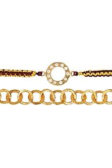 Gold Plated Cubic Zirconia Rakhi & Lumba Set by Zariin