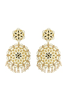 Gold Finish Earrings With Swarovski Crystals by Zariin X Confluence