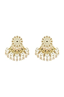 Gold Finish Emerald & Pearl Earrings With Swarovski Crystals by Zariin X Confluence
