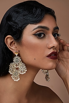 Gold Finish Pearl & Emerald Earrings With Swarovski Crystals by Zariin X Confluence