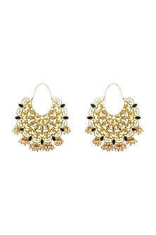 Gold Finish Pearl Earrings With Swarovski Crystals by Zariin X Confluence