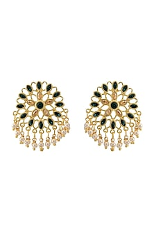 Gold Finish Pearl Stud Earrings With Swarovski Crystals by Zariin X Confluence