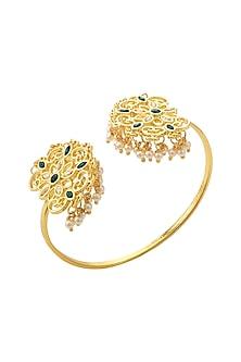 Gold Finish Pearl & Emerald Cuff Bracelet With Swarovski Crystals by Zariin X Confluence