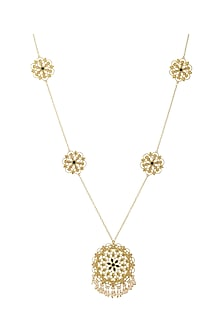 Gold Finish Necklace With Swarovski Crystals by Zariin X Confluence