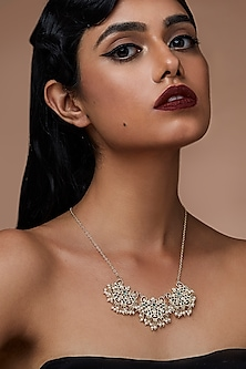 Gold Finish Pearl Necklace With Swarovski Crystals by Zariin X Confluence
