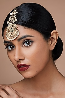 Gold Finish Pearl Maang Tikka With Swarovski Crystals by Zariin X Confluence