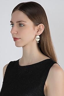 Gold Plated Smoky Topaz Stone Earrings by Zariin