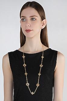 Gold Plated Carnelian Stone Necklace by Zariin