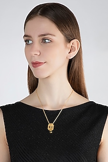 Gold Plated Green Chalcedony Stone Necklace by Zariin