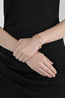 Gold Plated Carnelian Stone Bangle by Zariin