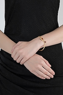 Gold Plated Carnelian Stone Openable Bangle by Zariin