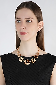 Gold Plated Carnelian Necklace by Zariin