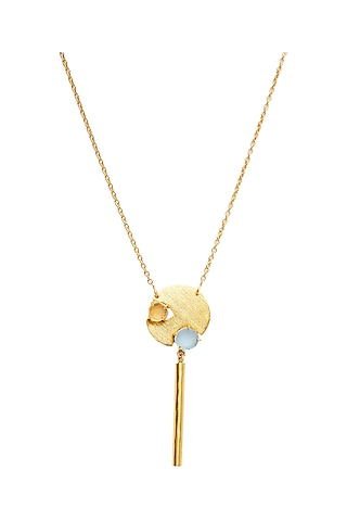 Gold Plated Rose Quartz Necklace by Zariin