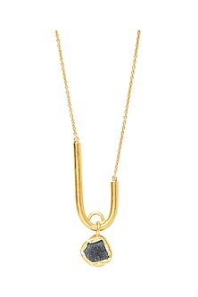Gold Plated Long Pendant Necklace by Zariin